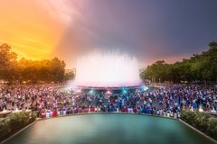 Night view of Magic Fountain in Barcelona, Spain. Night view of Magic Fountain light show with crowd of people in Barcelona, Spain Royalty Free Stock Image