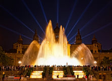 Night view of Magic Fountain light show. The magic fountain was constructed to the World Fair of 1929 in Barcelona in futuristic style Royalty Free Stock Photography
