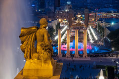 Night view of Magic Fountain from the Montjuic hill, Barcelona - Royalty Free Stock Photo