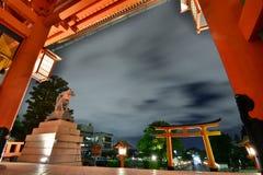 Night view from the main gate. Fushimi Inari Taisha shrine. Kyoto. Japan. Fushimi Inari Taisha is the head shrine of the god Inari, located in Fushimi Ward in Stock Image