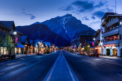 Night scene of Main Street of Banff townsite Stock Photos