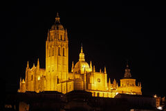 Night view on majestic Cathedral in Segovia, Spain Royalty Free Stock Photo