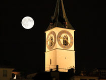 The night view of major landmarks in Zurich Stock Image