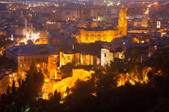 Night view of  Malaga with Cathedral Royalty Free Stock Photos