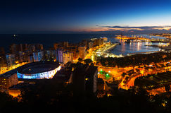 Night view of  Malaga Stock Photos