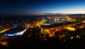 Night view of  Malaga Stock Images