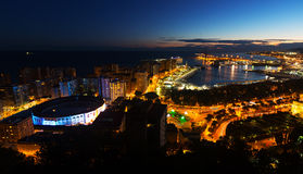 Night view of  Malaga Stock Photo