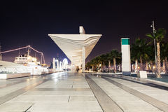 Night view of Malaga promenade in the evening. Royalty Free Stock Photos
