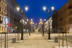 Night view of Malaya Konyushennaya Street in St. Petersburg Royalty Free Stock Images