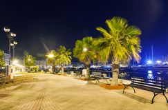 Night view Malta. bench and lantern Royalty Free Stock Images