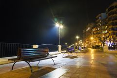 Night view Malta. bench and lantern Royalty Free Stock Image