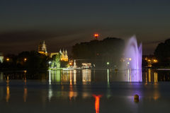 Night view of the Malta Lake with a fountain. In Poznan Royalty Free Stock Image