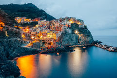 Night view of Manarola fishing village in Cinque Terre, Italy Stock Photography