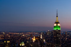 Night view of Manhattan. View of the Empire state building with Manhattan downtown and Brooklyn bridge in the background Royalty Free Stock Image