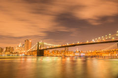 The night view of manhattan and brooklyn bridge Royalty Free Stock Image