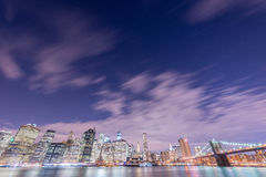 The night view of manhattan and brooklyn bridge Royalty Free Stock Photo