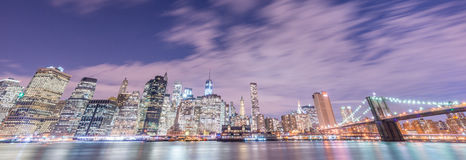 The night view of manhattan and brooklyn bridge Royalty Free Stock Images