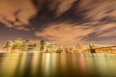 The night view of manhattan and brooklyn bridge Royalty Free Stock Photo