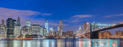 The night view of manhattan and brooklyn bridge Royalty Free Stock Photography