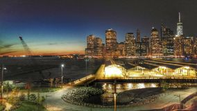 Night View of Manhattan from Brooklyn Heights Promenade Stock Photos