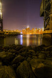 Night view of Manhattan. From Long Island City Pier Royalty Free Stock Image