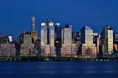 Night view of the Manhattan skyline in New York City Royalty Free Stock Images
