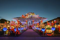 Night view of many Christmas decoration on a house. Los Angeles, DEC 7: Night view of many Christmas decoration on a house on DEC 7, 2018 at Los Angeles stock photos