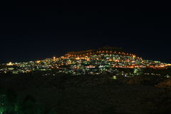 Night view of Mardin. Mardin settled on hill of a mountain is one of the oldest cities of north Mesopotamia in southeast of Turkey. Mardin, having a magnificient Royalty Free Stock Photo