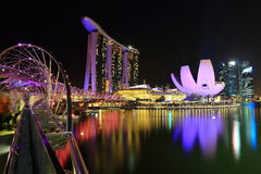 Night view of Marina Bay Sands Stock Images
