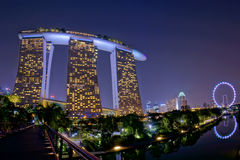 Night view of Marina Bay Sands Resort Hotel Royalty Free Stock Image