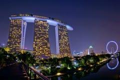 Night view of Marina Bay Sands Resort Hotel Stock Photo