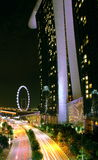 Night view of marina bay sands singapore. Night view of marina bay sands hotel and flyer in singapore Stock Photography