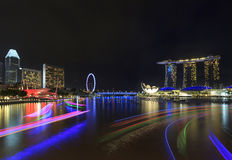 Night view of Marina Bay, urban skyline of Singapore Royalty Free Stock Image