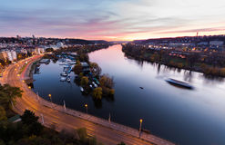Night view of marina situated behind the vysehrad castle in prague Stock Photos