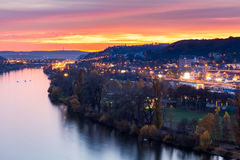 Night view of marina situated behind the vysehrad castle in prague Royalty Free Stock Images