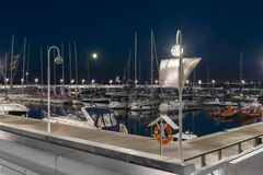 Night view of marina in Sopot, Poland. Night view of marina in Sopot at the Baltic sea, Poland Stock Photos