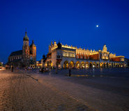A night view of the Market Square in Krakow, Poland Stock Image