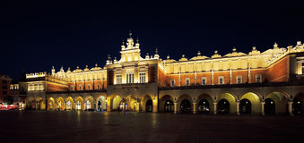 A night view of the Market Square in Krakow, Poland Stock Images