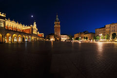 A night view of the Market Square in Krakow, Poland Royalty Free Stock Photo