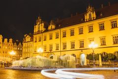 Night view of Market Square and Town Hall in Wroclaw Stock Photography