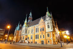Night view of Market Square and Town Hall in Wroclaw Stock Photos