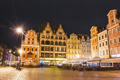 Night view of Market Square and Town Hall in Wroclaw Stock Photo