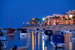The night view of Marsaskala waterfront and Marsascala Bay. Malt Stock Photography