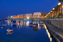 The night view of Marsaskala waterfront and Marsaskala Creek. Ma Royalty Free Stock Image