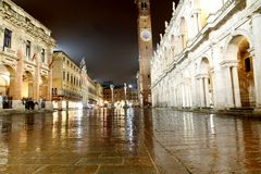 Night view of the marvellous Piazza dei Signori Royalty Free Stock Images