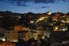 Night view on Matera`s Sassi royalty free stock photography