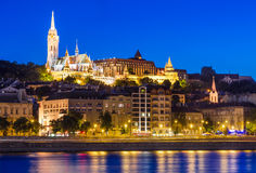 Night view of Matthias Church, Budapest. Night view with Danube River, Matthias Church and Fishermen Bastion in Budapest, capitala of Hungary Royalty Free Stock Photos