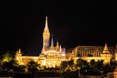 Night View with Matthias Church Royalty Free Stock Photo