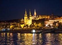 Night view on Matthias church from Danube Royalty Free Stock Photo