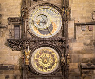 Night view of the medieval astronomical clock in the Old Town square in Prague, Czech republic Royalty Free Stock Photo